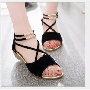 Ladies Low Wedge Sandal Shoes- Black discountshub