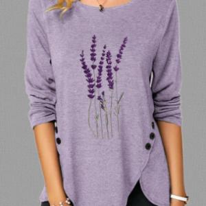 Lavender Embroidery O-Neck Irregular Hem Button Blouse discountshub