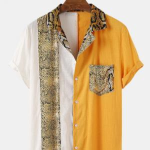 Men Cotton Thin Serpentine Patchwork Lapel Casual Designer Shirt discountshub