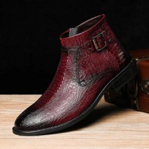 Menico Men Cow Leather Non Slip Metal Buckle Crocodile Pattern Casual Boots discountshub