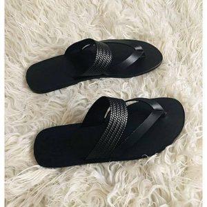 Men's Black Leather Craft Slippers Shoe Champion discountshub