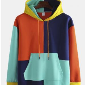 Mens Casual Colorblock Panel Streetwear Kangaroo Pockets Hoodies discountshub