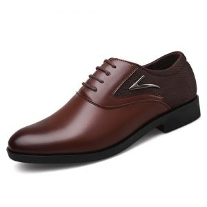 Men's Casual PU Leather Shoes Business Dress Shoes-brown discountshub