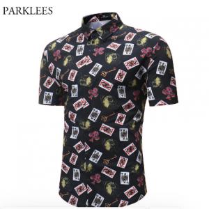 Mens Hipster Poker Print Dress Shirt 2018 Brand New Men Slim Fit Short Sleeve Shirt Casual Holiday Party Camisa Social Masculina discountshub