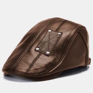 Men's PU Leather Beret Caps Casual Artificial Leather Newsboy Cap Warm Hats discountshub