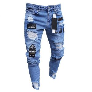 Men's Ripped Hole Emoroidered Jeans Denim Trousers - Blue discountshub