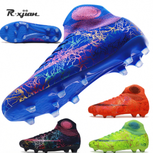 Men's Sliver Black High Ankle AG/FG Sole Outdoor Cleats Football Boots Shoes Soccer Cleats Women Soccer Cleats Training Football discountshub