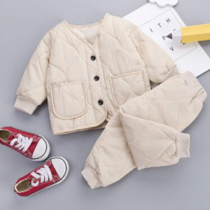 NEW Solid Warm Coat Cute Infant Newborn Baby Girl Clothes Long Pants 2pc/set Outfit Cotton Baby Boys Tracksuit Set 0-5 Years discountshub