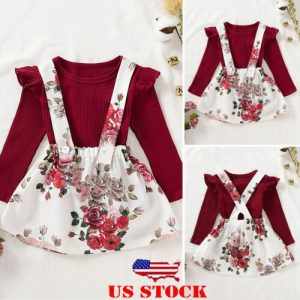 Newborn Baby Girls Autumn Long Sleeve Tops Floral Skirt 2Pcs Outfit Clothes Set discountshub