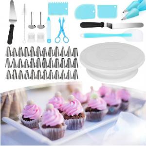 52-piece Set Cake Turntable 32 Pcs Piping Tips Set 2 Plastic Couplers discountshub