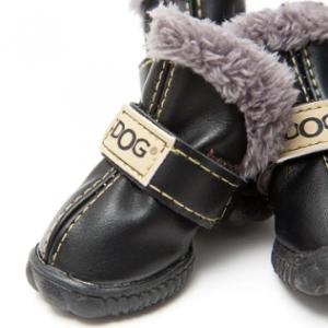 PU Leather Dog Waterproof Boots Winter Soft Warm Anti-slip Snow Booties Shoes 4Pcs discountshub