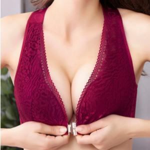 Plus Size Wireless Front Closure Widen Criss Cross Straps Support Back Lace Bras discountshub