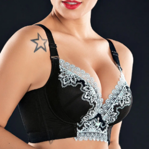 Plus Size Wireless Lace Patchwork Gather Full Coverage Bras discountshub