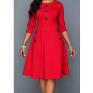 Red Solid Button Detail Midi Dress discountshub