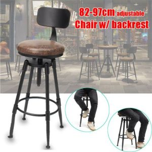 Retro Industrial Bar Stool Cafe Counter Chair Backrest Leather Seat Adjustable discountshub