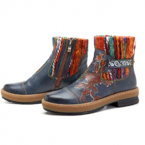 SOCOFY Bohemian Color Match Pattern Ankle Flat Leather Boots discountshub