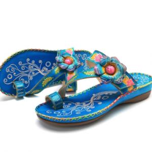 SOCOFY Bohemian Genuine Leather Adjustable Hook Loop Comfortable Clip Toe Sandals discountshub