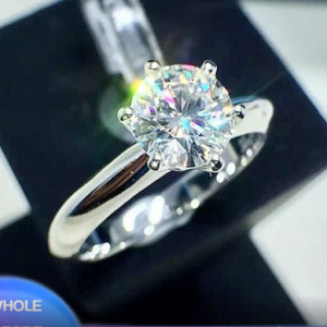 Sell at a loss! Luxury Classic 1 Carat Lab Diamond Ring With Certificate 18KRGP Stamp White Gold Pt Wedding Rings For Women Gift discountshub