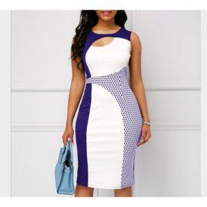 Sexy Midi Floral Ladies Dress- Blue/White discountshub
