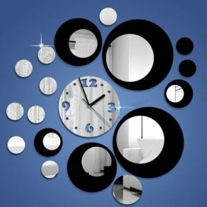 Silver Circle 3D Crystal Mirror Wall Clock Wall Sticker discountshub