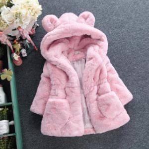 Soft Fleece Girls Winter Coats Kids Hooded Thicken Jacket For 2Y-11Y discountshub