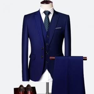 Suit Male 3 Piece Set Business Men's Suits Blazers Large Size Boutique Suit Slim 2020 High-end Formal Fit Party Wedding Regular discountshub