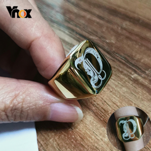 Vnox Heavy A-Z Initial Stamp Ring for Men Gold Color Solid Stainless Steel Signet Ring Chunky Punk Finger Jewelry Customize Gift discountshub