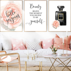 Wall Art Painting Print Unframed Canvas Posters And Prints Nordic Rose Flowers Perfume Quote Wall Prints Home Decor discountshub