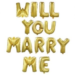 Will You Marry Me Letter Balloon - Gold Foil discountshub