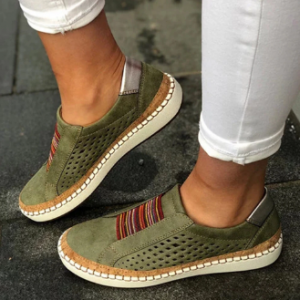 Large Size Women Breathable Hollow Splicing Flat Loafers discountshub