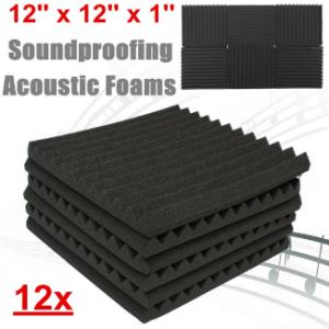 12PCS Black Soundproofing Foam Acoustic Wall Panel Sound insulation Foam Studio Wall Tiles discountshub