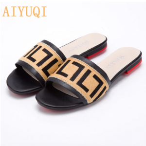 AIYUQI Women Slippers 2020 New summer Genuine Leather Flat Women slides Mohair Casual Outdoor Slippers Women shoes discountshub