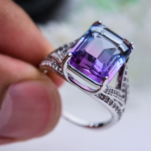 Blue Zircon Purple Crystal Rainbow Gradient Stone Engagement Rings For Women Vintage Fashion Silver Color Ring Female Party Gift discountshub