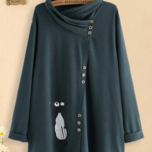 Cartoon Cute Cat Turtleneck Asymmetrical Button Plus Size Blouse discountshub