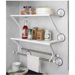 Double Layer Bathroom And Kitchen Rack Wall Shelf discountshub