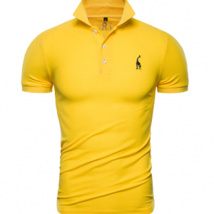 Dropshipping 2019 New Polo Shirt Men Solid Casual Cotton Polo Giraffe Men Slim Fit Embroidery Short Sleeve Men's Polo 10 Colors discountshub