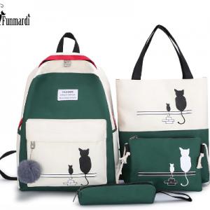 FUNMARDI 4Pcs/Set Panelled Women Backpack Canvas Cat Pattern School Bag For Girl Patchwork Backpack Female Shoulder Bag WLHB2065 discountshub