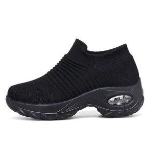 Fashion By LV Ladies' Socking Sneakers - Black discountshub