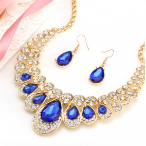 Fashion Gold Color Water Drop Pendant Chocker Necklace Earrings Wedding Bridal Crystal Stone Jewelry Sets discountshub