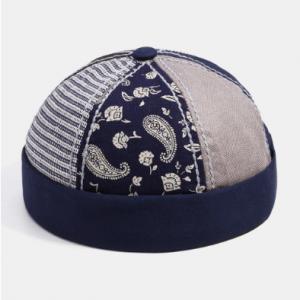 Fashion Paramecium Stripe Solid Color Stitching Landlord Hat Skull Caps discountshub