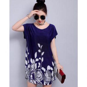 Fashion Woman Ladies' Short-Sleeve Top - Blue discountshub