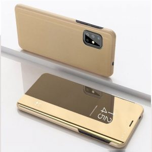 For Samsung Galaxy A21S Plated Mirror Horizontal Flip Leather Case(Gold) discountshub