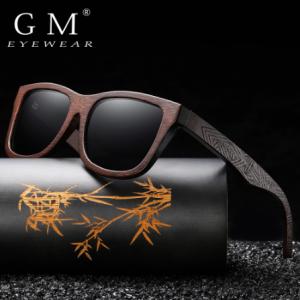GM Natural Bamboo Wooden Sunglasses Handmade Polarized Mirror Coating Lenses Eyewear With Gift Box discountshub