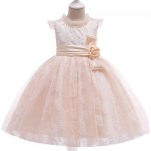 Girl's Beaded Satin Band Party Ball Dress - Champagne Gold discountshub