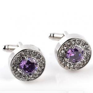 High-grade Fashion Luxury Men's White Purple Zircon Crystal Cufflinks Round Wedding Party Cufflink French shirt Cuff Buttons discountshub