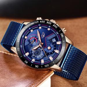 LIGE Fashion Mens Watches Top Brand Luxury WristWatch Quartz Clock Blue Watch Men Waterproof Sport Chronograph Relogio Masculino discountshub
