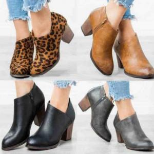 Large Size Women Leopard Clog High Chunky Heel Short Boots discountshub