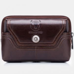 Men EDC Genuine Leather 5.5 Inch Phone Holder Waist Belt Bag discountshub