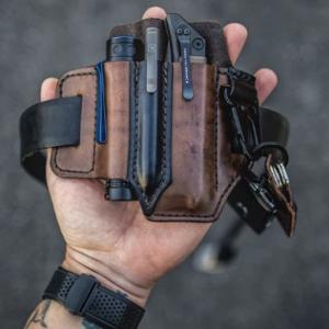Men EDC Genuine Leather Multitool Flashlight Key Pen Organizer Gear Waist Belt Bag discountshub
