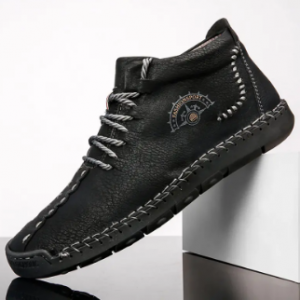 Men Hand Stitching Leather Non Slip Plush Lining Casual Ankle Boots discountshub